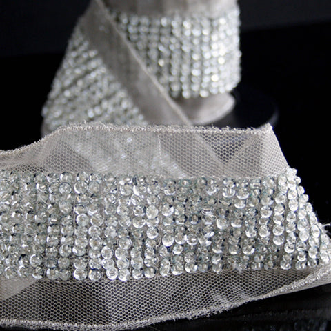#0705 Silver Beaded Sequin Trim 50mm