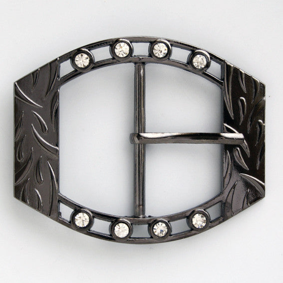 #0826 Gunmetal With Diamontes Decorative Buckle 45mm