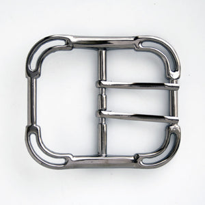 #0828 Nickel Finish Double Prong Buckle 50mm