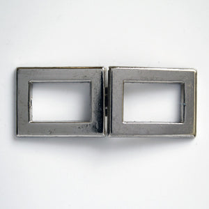 #0954 Antique Nickel Double Square Clasp 10mm