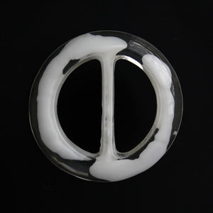 #1297 Round Acrylic Clear White buckle 34mm