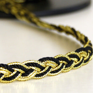 Plaited braid black /gold 10mm