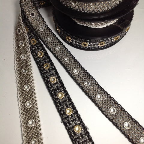 #GT025-GT026 Diamonte Eyelet Metal Studs Woven Tape Trim 30mm $24.00/mt