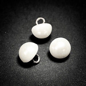 8mm White Half Dome Pearl Button