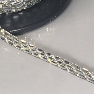 #GT132 Silver Iron On Glass Jewel Tape with Diamonte Crystals