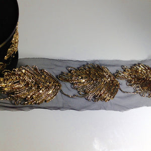 #YT203269 Fancy Sequinned Gold Leaf Detailed Trim
