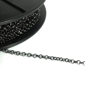 Gunmetal Round Linked Chain 3mm