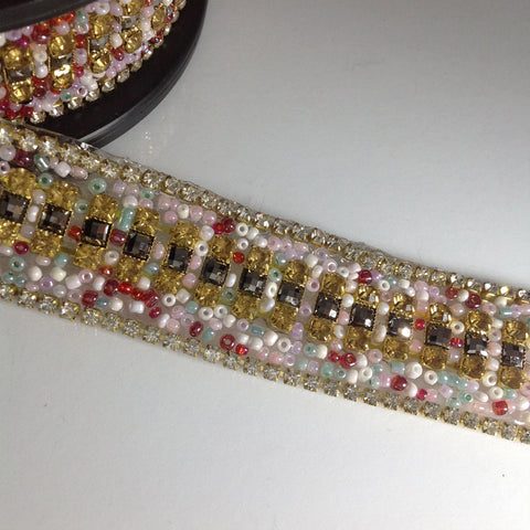 #YT204153 Fancy Multi-colored Bead And Crystal Trim
