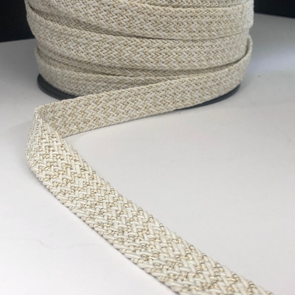 20mm Waverly Webbing in Gold and White