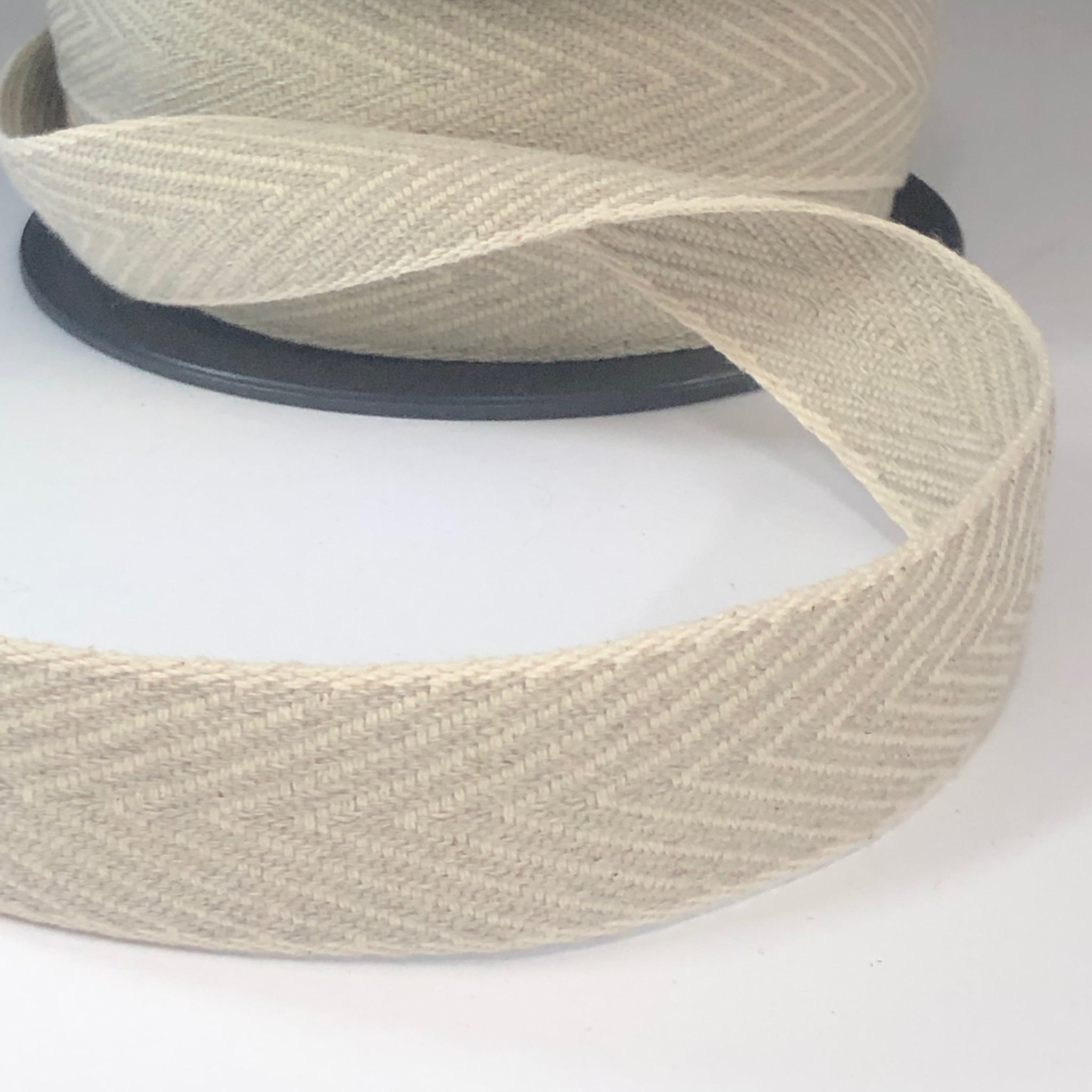 Winter Herringbone Webbing in Ecru & Taupe