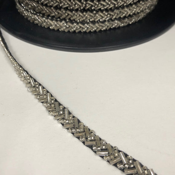 V Shaped Beaded Trim in Silver with Black Backing