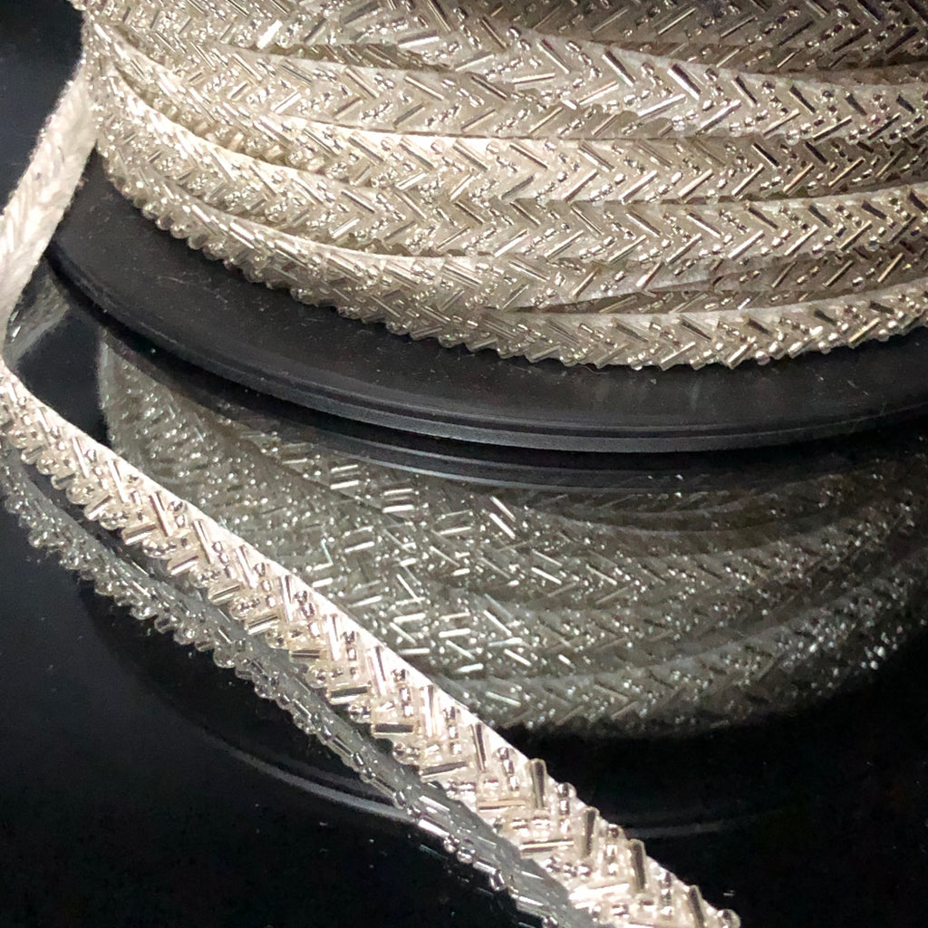 V Shaped Beaded Trim in Silver