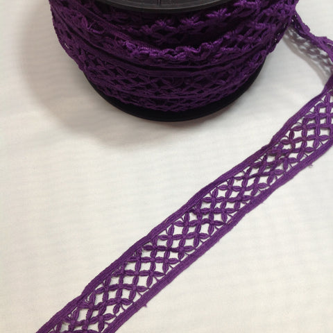 YT204362 Floral Lace Trim 35mm Purple or Green