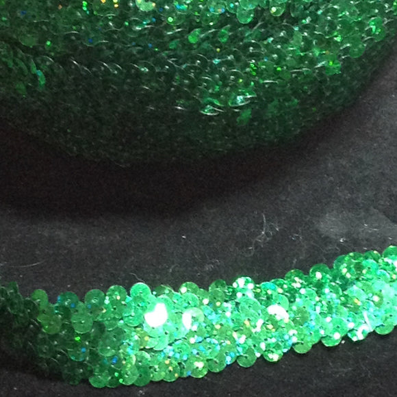 Stretch Sequin Trim 25mm Green