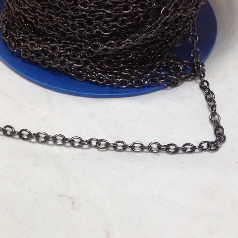 Gunmetal Grey Oval Link Chain 4mm