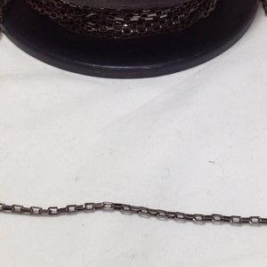 Gunmetal Grey Rectangular Link Chain 3mm
