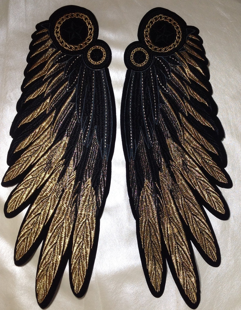 Very large embroidered gold wings patch- PA171124