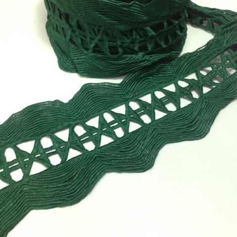YT204567  Scolloped Edge Lace 145mm Wide Green or Purple
