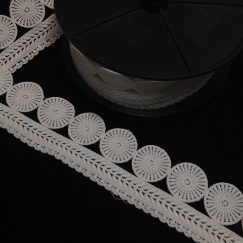 Guipure Lace Circle with Single Scolloped Edge Trim White 48mm