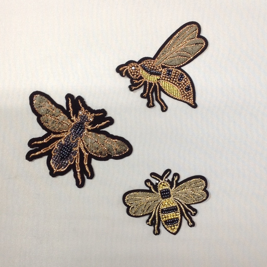 Embroidered Bee Iron On Appliqué Patch Small