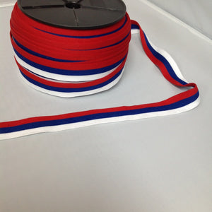 YT205003 Stripe Ribbing 30mm White, Blue And Red