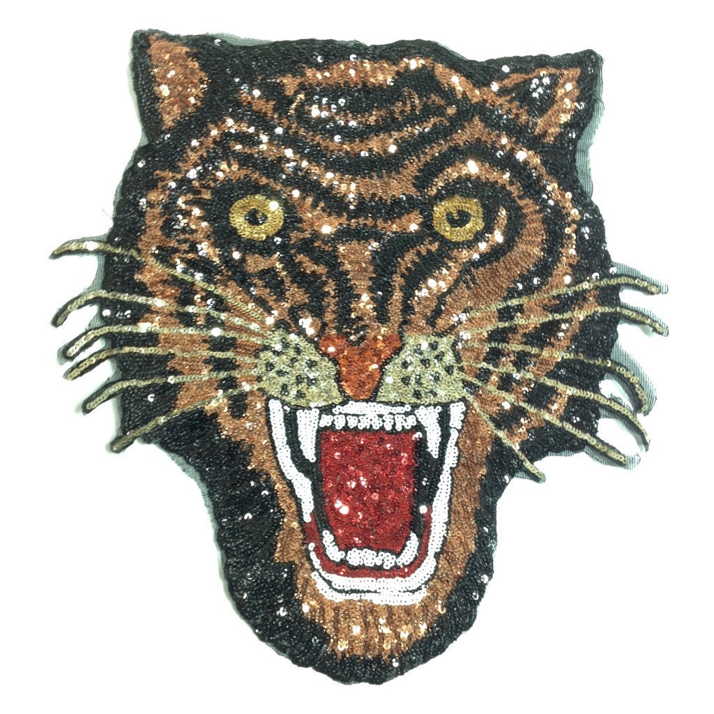 Tiger Head Embellished Patch