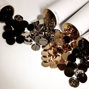 #YB203866 11mm Plain Metal Shank Button Gold, Gunmetal, Matt Black, or Nickel
