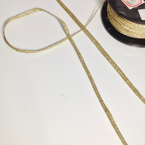 #YT204049 Flat Lurex Shoelace Tape Gold Lurex 6mm $1.80/mt