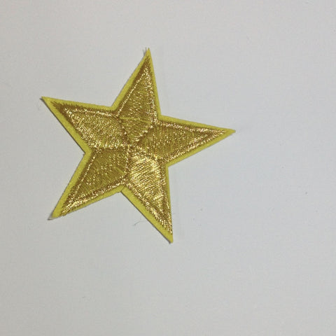 Star Iron On Patch Silver or Gold Metallic Thread
