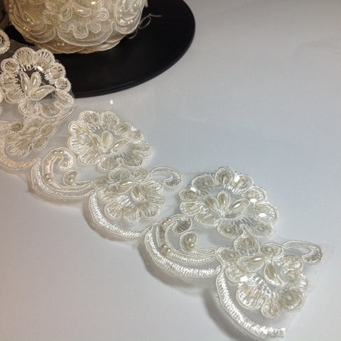 White Beaded and Sequin Lace 6cm
