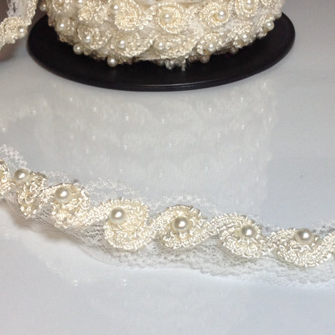 #LT118 Cornelli Beaded Pearl Trim