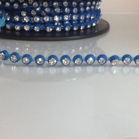 #LT108 Dance Diamontes Trim Blue 7mm
