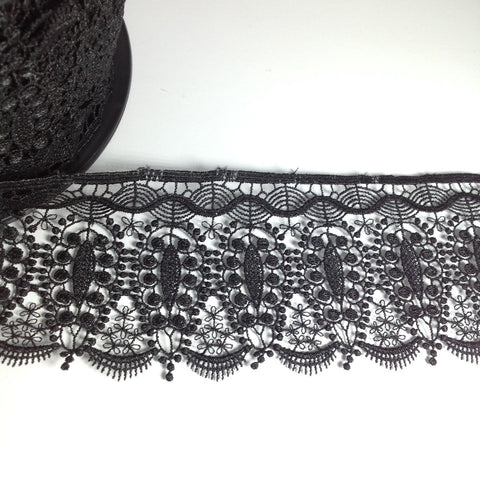 Tear Drop Decorative Fancy Black Lace YT204029