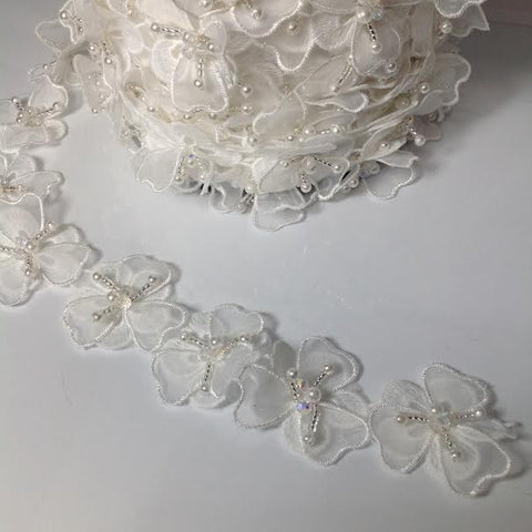 White Crystal and Pearl Flower Trim YT204408