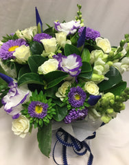 Posy Pot of whites, blue and purples