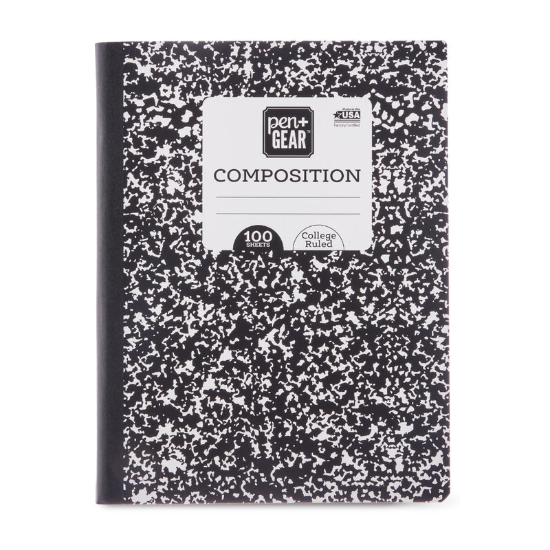 "Composition Book, College Ruled,100 Pages, 7.5"" x 9.75"""