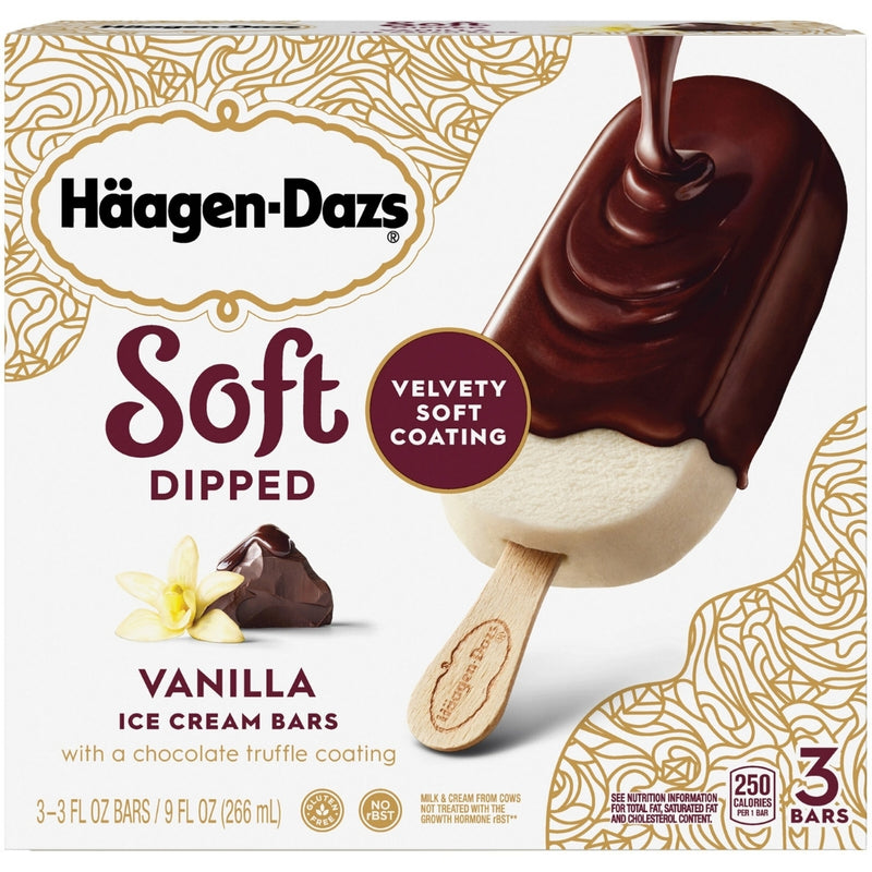 Haagen Dazs Soft Dipped Vanilla Ice Cream Bars 3 Bars