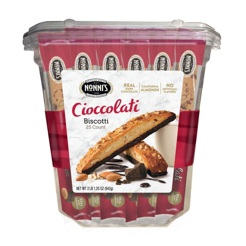 Nonni's Biscotti Value Pack with Larger Cookies, Cioccolati, 25Count
