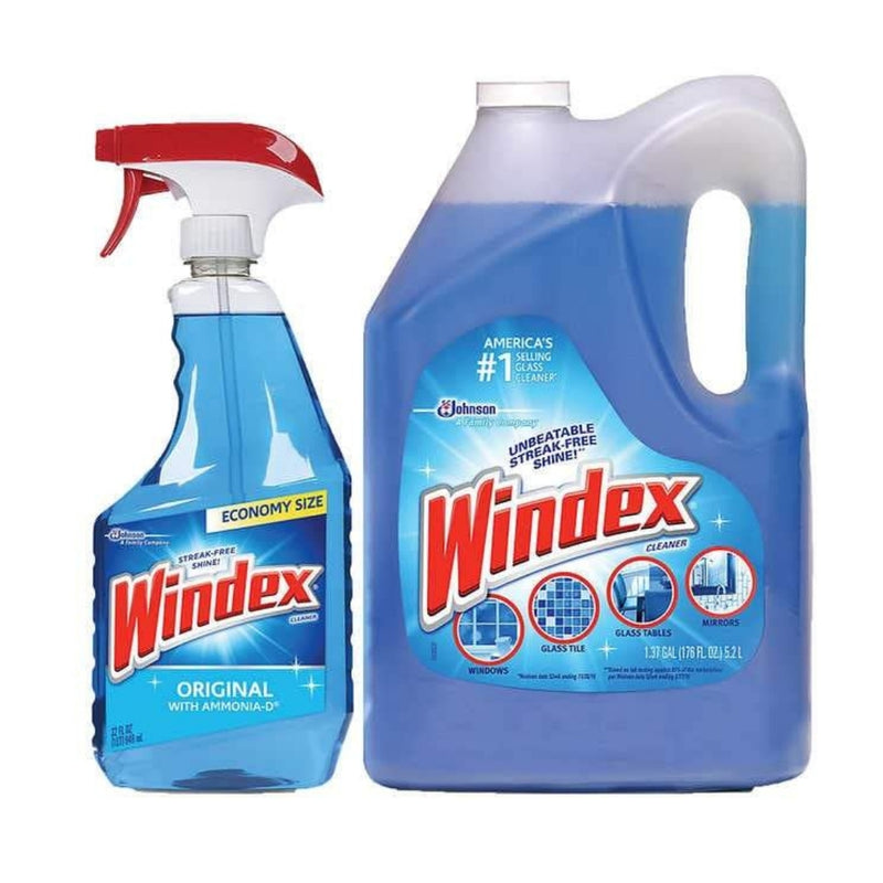 Windex Original Glass Cleaner, 32 fl oz & 176 fl oz refill