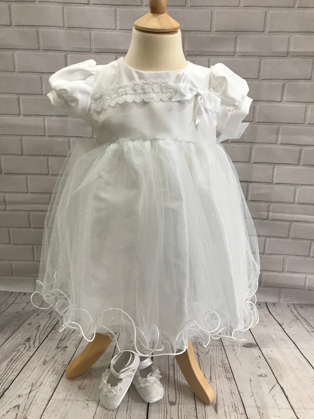 Eva Rose White Christening Dress & Sparkle Tulle Skirt