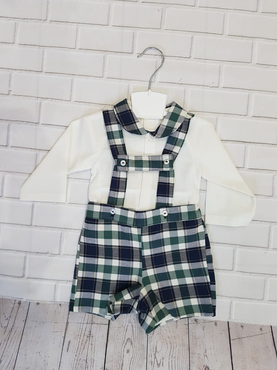 Boys Blue & Green Check Dungaree & Shirt Set