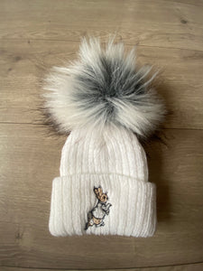 Peter Rabbit Single Fur Pom in Grey and White