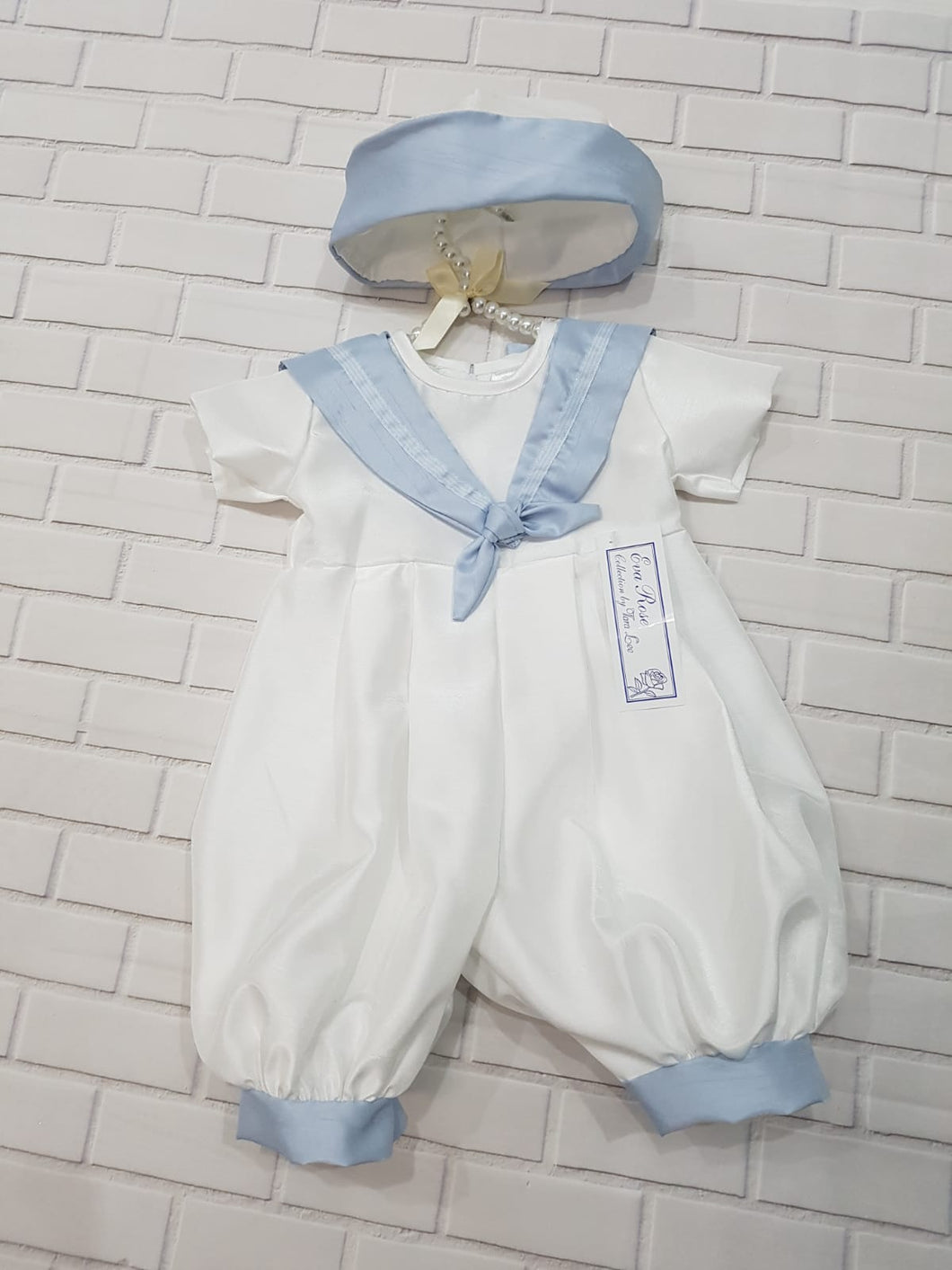 Eva Rose White and Pale Blue Sailor Christening Romper and Hat