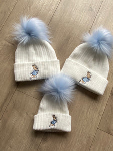 Peter Rabbit Hat with Blue Single Fur Pom