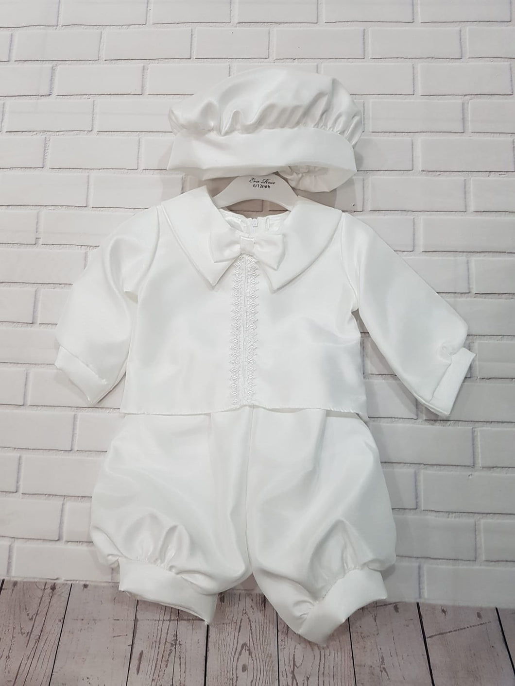 Eva Rose Christening 2 Piece Romper in White with Hat