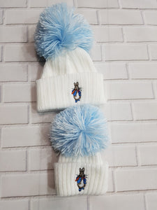 Peter Rabbit Pom Hats White