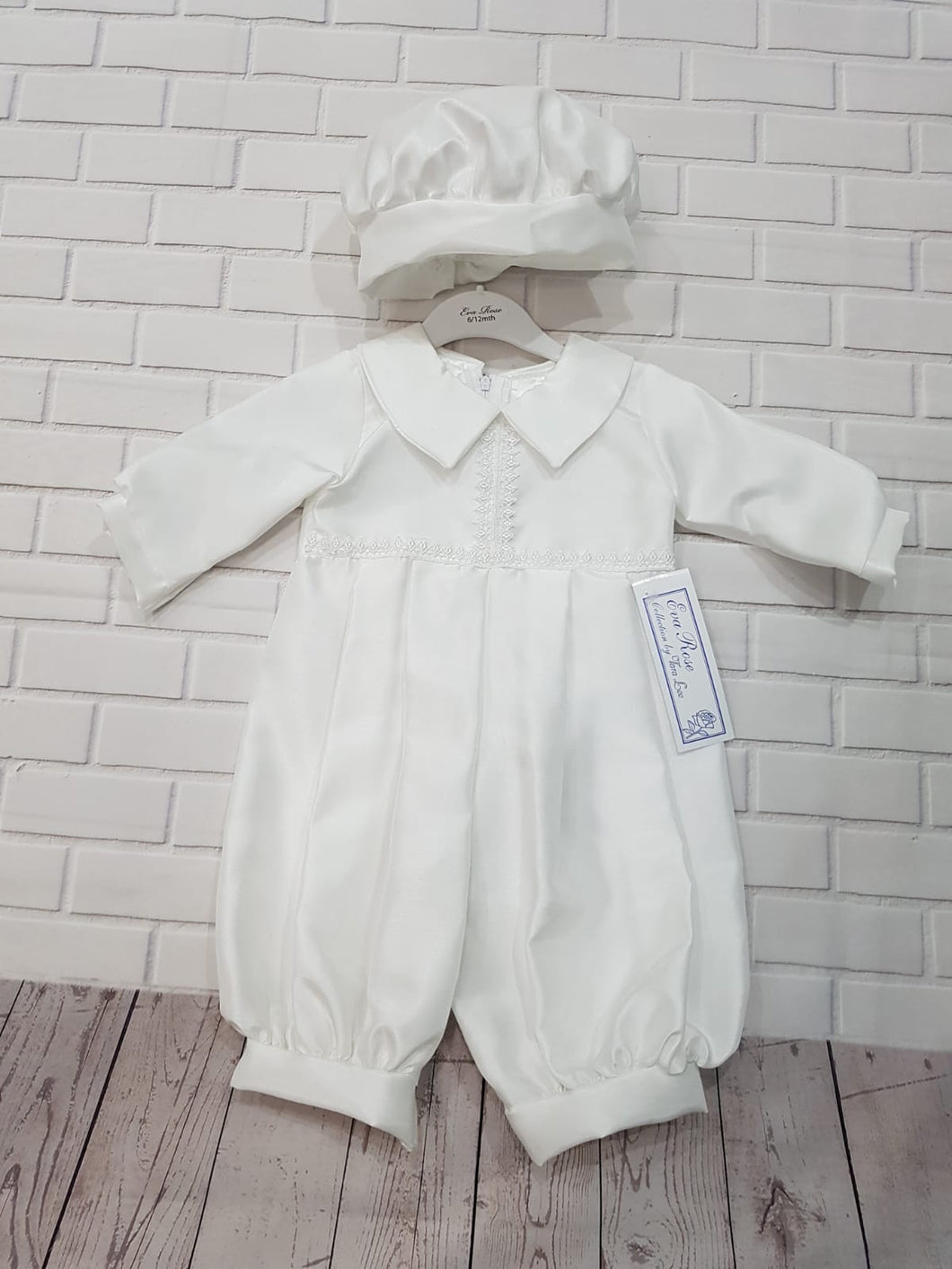 Eva Rose Christening Romper in White with Hat