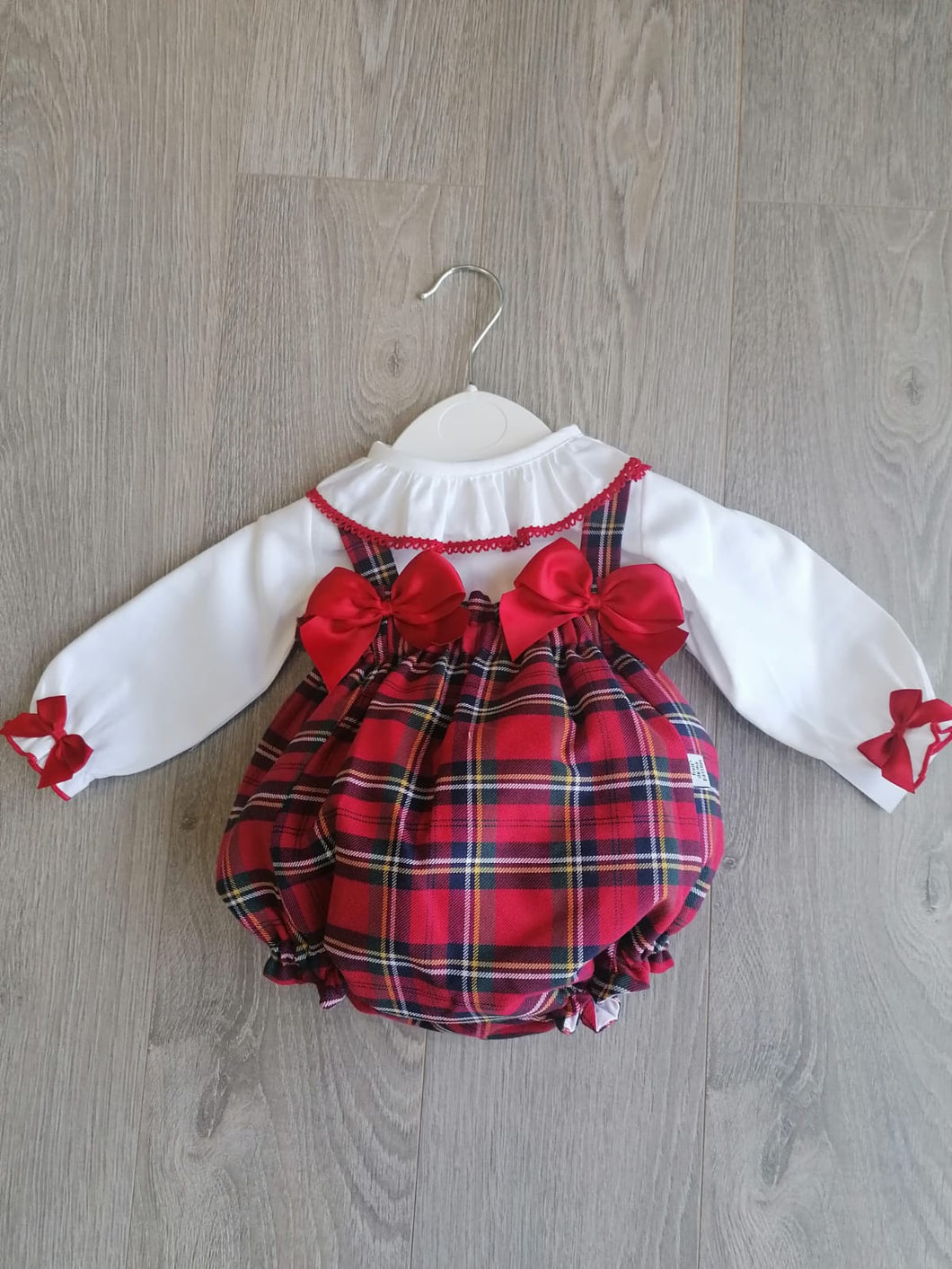 Red Tartan Romper and Blouse Set