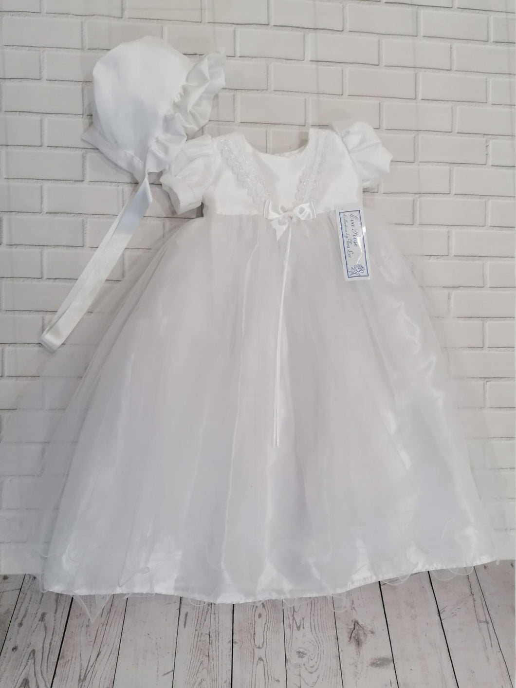 Eva Rose White Long Christening Gown and Matching Bonnet