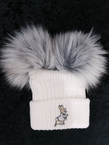 White Peter Rabbit Double Pom Hat